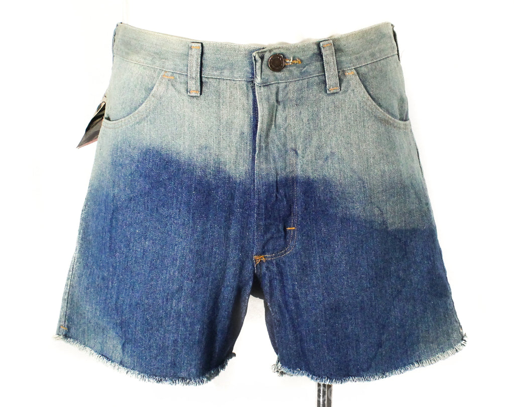 Men's Medium Shorts - 1980s Cutoff Denim by Wrangler - Faded Blue Cotton - 80s Western Hippie Casual Cut-Offs - As Is Deadstock - Waist 33