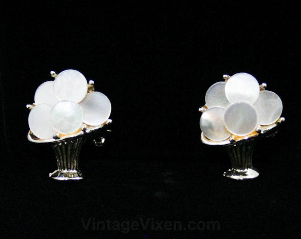 60s Flower Basket Scatter Pins - 1960s Mother of Pearl Baskets - Pair of Two Petite Pins - Identical Shell & Silvertone Metal - Mint - 42528