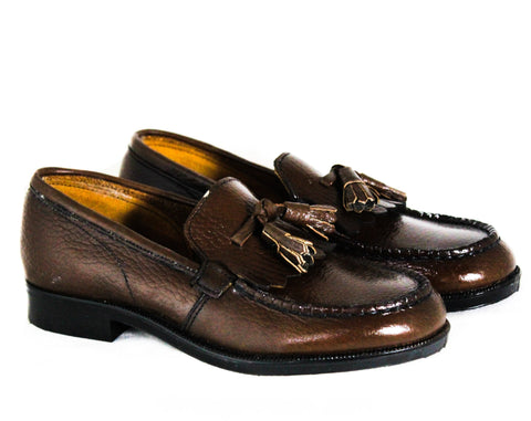Size 2 Boys Loafers - Authentic 1960s Brown Leather Shoes with Tassels & Fringe - Child Size Boy's 2D - NOS Poll Parrot Deadstock NIB