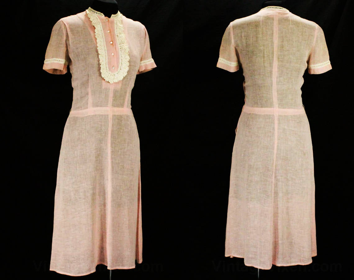1940s Rose Pink Linen Dress with Lace
