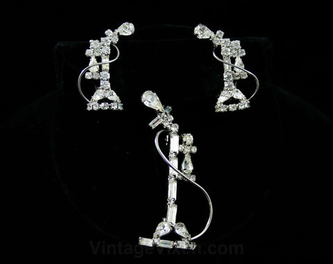 Old Fashioned Telephone Jewelry - 1950s Novelty Pin & Earrings - Rhinestones - Receptionist Look - Secretary Style - Glam - Sparkly -42427