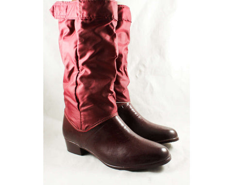 Size 9 Cranberry Boots - Unworn Maroon Waterproof Rubber & Canvas - Utilitarian 1960s Preppy Fleece Lined Boot - NOS 60s 70s Deadstock