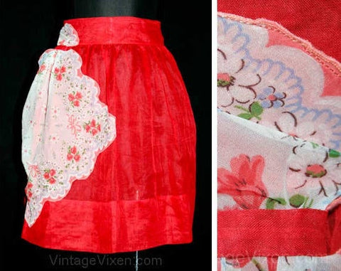 Charming 50s Sheer Red Apron with Handkerchief Pocket - Size Large - Waist 30 to 34 - Half Apron - Floral Roses - Cottage Chic - 40923