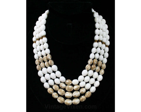Resort Chic 60s Necklace - White & Gold - Faux Ivory Carved Plastic Beads - 1960s - Multi Strand - Four Strands - Germany - 42361