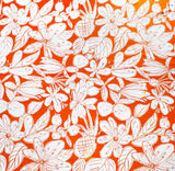 1960s Orange Cotton Canvas - Tropical Floral Fruit Novelty Print - 1.4 Yards x 51 Inches Wide - 60s Summer Tiki - Fresh Vintage Yardage