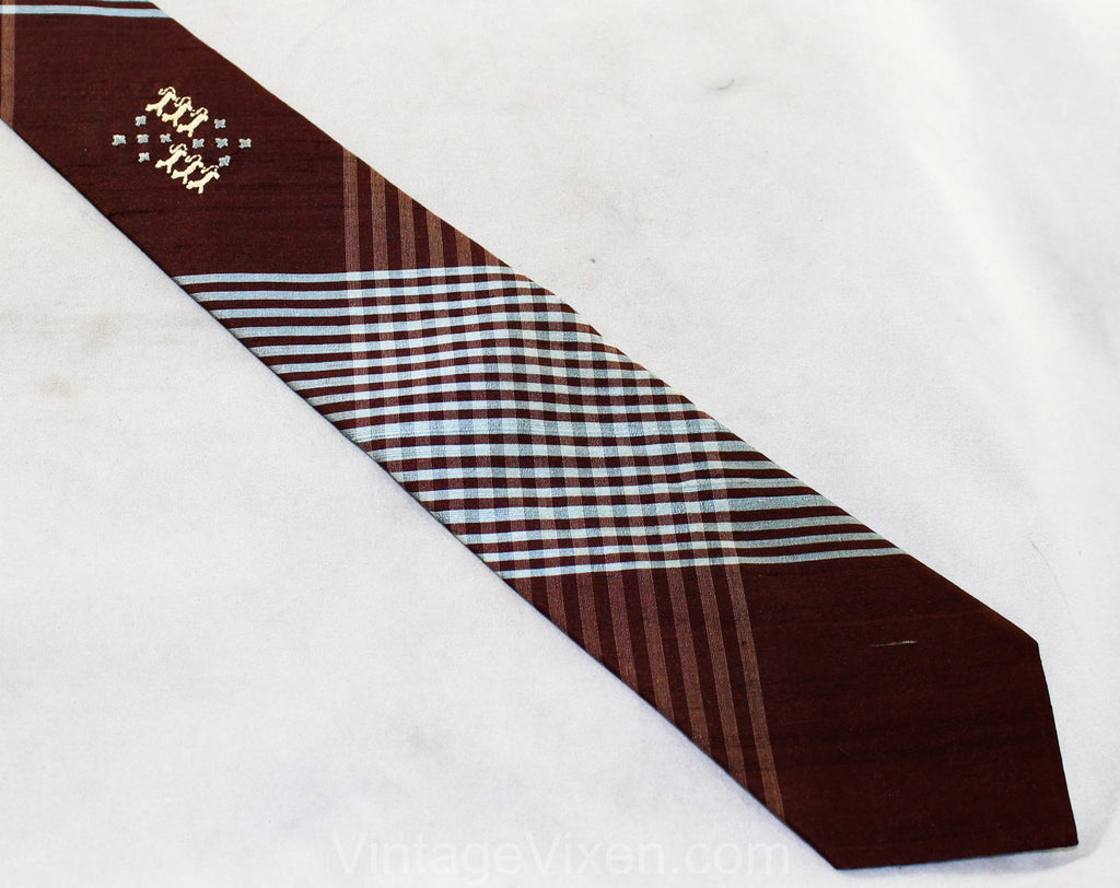 1950s Plaid Men's Tie - Blue & Brown Silk Necktie with Heraldry Style Crest - Smart 50s Preppy Classic Men's Business - Upstate NY Label