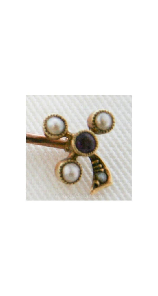 Antique 16KT Gold Clover Stick Pin - 1880s - Rose Gold - Yellow Gold - Amethyst - Pearls - Victorian - Brooch - Three-Leaf Clover - 31890