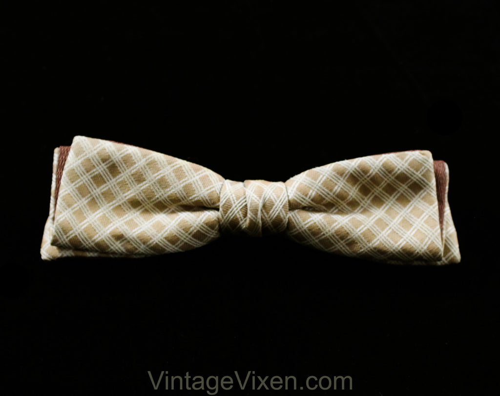 1950s Men's Bow Tie - Brown Lattice Brocade Mens 50s Skinny Bowtie - Beige Cream Ivory - Retro Haberdashery - Mid Century 50's Clip On Tie