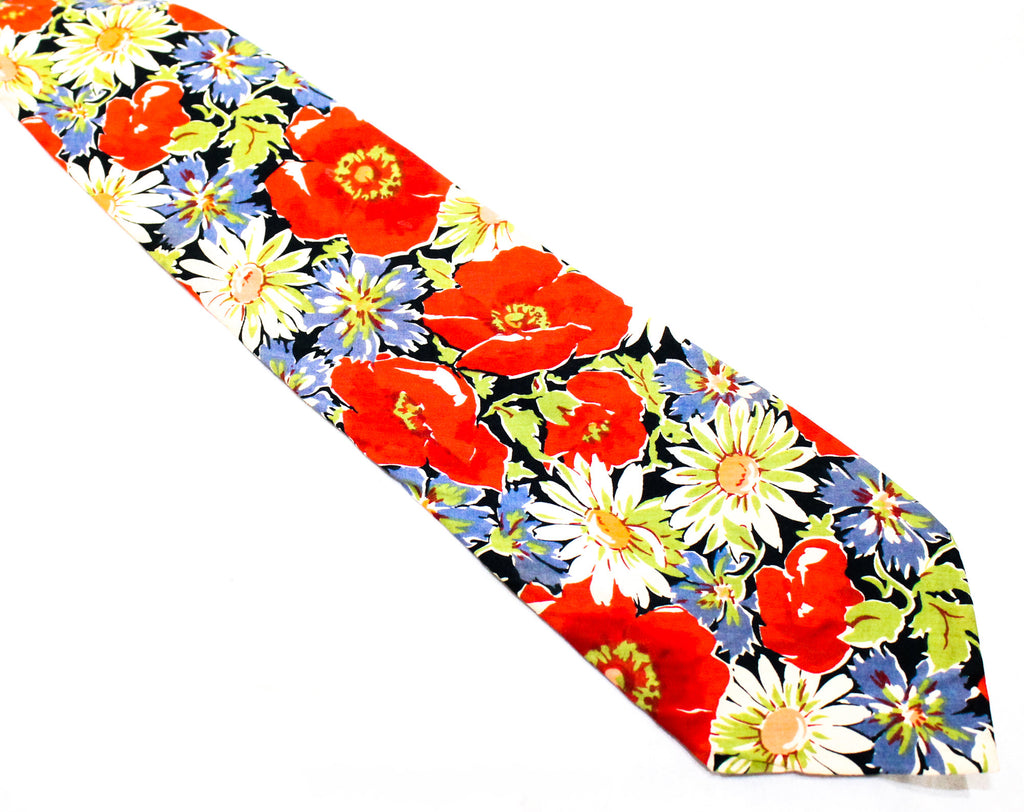Liberty of London Tie - Poppy Flowers Print Fine Cotton Men's Necktie - Red Blue Chartreuse Green Navy - Preppy 80s Mens - Spring Summer