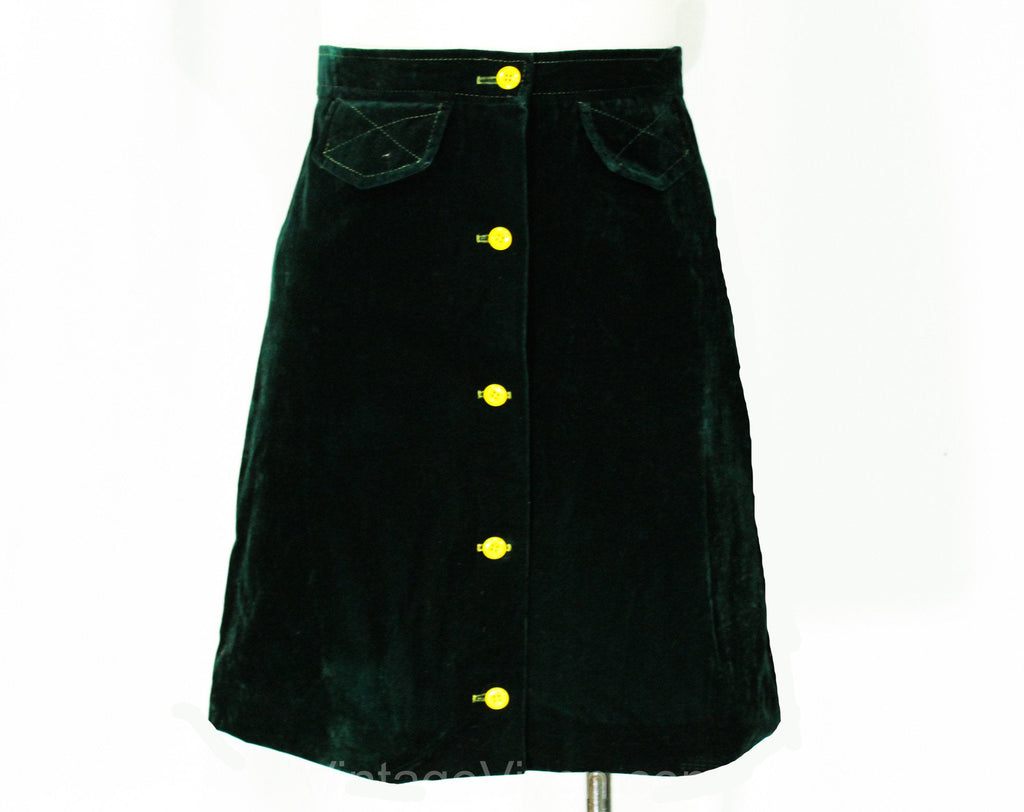 Size 0 1960s Mini Skirt - XS Forest Green Velveteen Short Skirt - 60s Mod British Invasion Go-Go Girl - Yellow Button Front - Waist 24.5