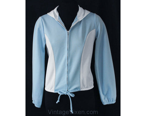 Small 1970s Casual Jacket with Hood - Size 6 Sky Blue & White Two-Tone Zip Front Hoodie - Roller Derby - Lightweight 70s Hooded - Bust 34.5
