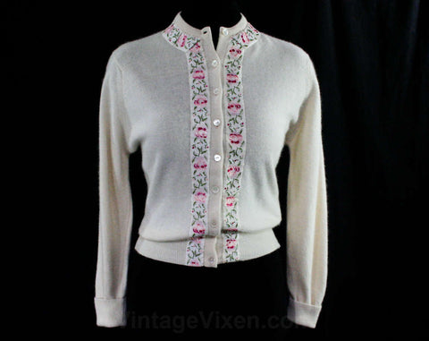 Size Small 1950s Cardigan - Exquisite Pink Roses Ribbon Brocade - 50s Button Front White Sweater - Soft As Cashmere - Deadstock - Bust 39.5
