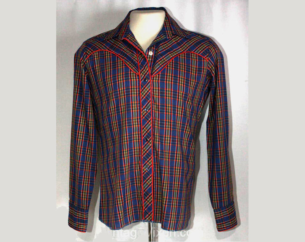 Men's Small Western Shirt - XS 1980s Cowboy Shirt - Blue Plaid Mens Rockabilly Shirt with Red Satin Detail - Teen Size - Chest 36 - 35780