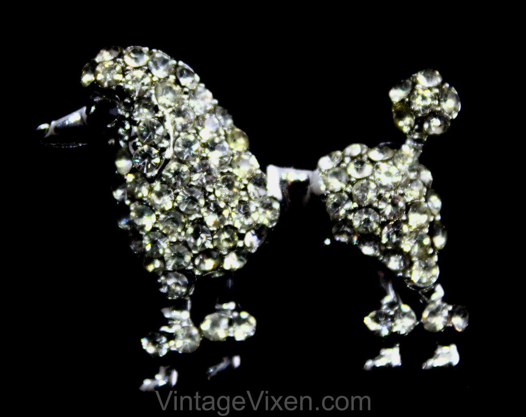 50s French Poodle Pin - Elegant Rhinestones & Silver Tone Metal - 1950s Novelty Dog Brooch - Classy Animal Lover Gift Idea - Fancy Puppy