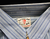 Boys 1930s Shirt - Size 14 Blue Striped Cotton Authentic 30s Teenager Long Sleeved Dress Shirt - Depression Era - Chest 37 Neck 13.5 - NOS