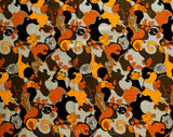 60s Mod Fabric - 1.6 Yards x 44.5 Inches - Orange Red Brown Black - Modernist 1960s Psychedelic Thin Summer Cotton Yardage - Fine Poplin