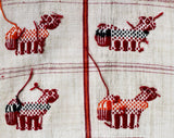 1960s Table Runner - Hand Woven Llama Animals Ivory Orange Red Cotton Forest Green Textile - Southwestern South American 60s Cotton Fringe