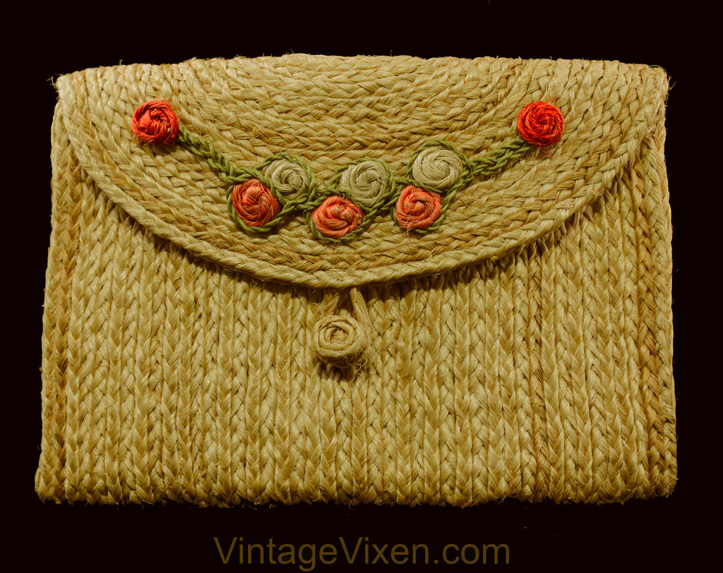 1940s Summer Purse - 40s Braided Jute Resort Handbag with Pink & Green Raffia Flowers - Natural Dyed Envelope Clutch - Artisan Made Bag