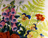 "Botanical Floral Pillow - Burnt Orange Chartreuse Pink Blue Roses Iris Poppy Pansies & Ferns - 1960s 1970s - 16 1/2"" Square Fine Cotton"