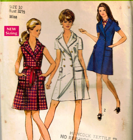 1969 Dress Sewing Pattern - 60s Misses Petite Dress Coatdress - Sleeveless & Sleeved - Complete Bust 32.5 Simplicity 8653 1960s Mod Chic