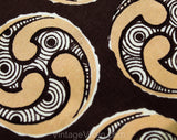 1940s Men's Tie - Van Gogh Print - 30s 40s Art Scene Necktie - Brown & Beige Silk Print - Autumn Circles Swirls - As Is Best for Costume