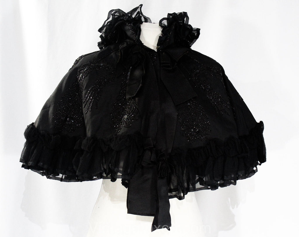 Authentic Victorian Cape - Antique 1890s Black Silk Capelet with Jet Beading, Sequins, and Chiffon Ruffles - 1900s Edwardian - Neck 16