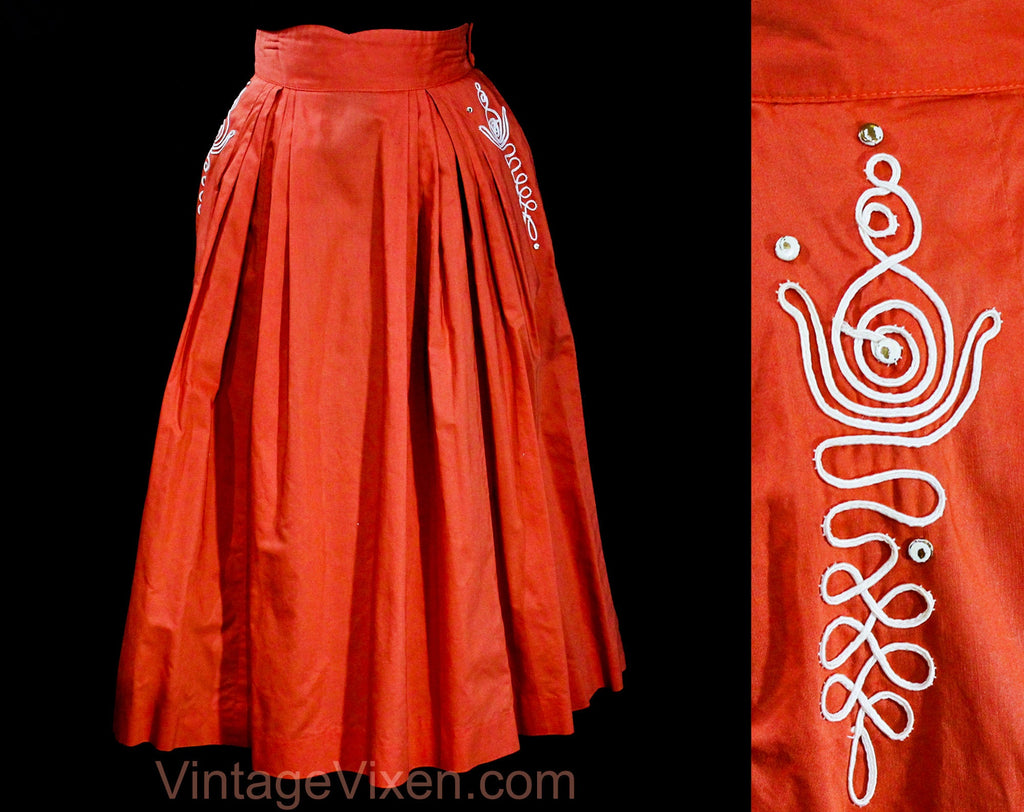 XXS 1950s Full Skirt - Terracotta Coral Orange 50s Cotton Pleated with White Cord Soutache - Size 000 50's with Pockets - Waist 21.5