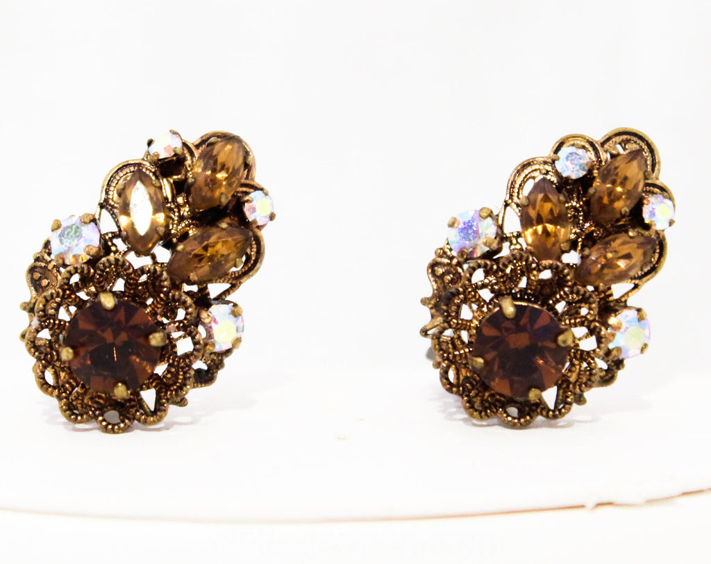 Brown Antique Style Earrings - Rich Rhinestones & Victorian Look Filigree - Amber Gold Aurora Borealis 50s Clip Ons - 1950s Western Germany