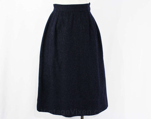XXS Navy Wool Skirt - 1960s A Line Dark Blue Tailored 60s Office Wear - Tan Stitched Side Seams - Size less than 000 - Waist 21