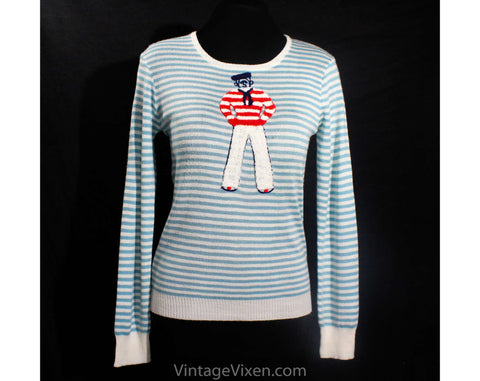 Small 1970s Sweater - Cute Striped Blue Venice Gondolier 70s Pullover by Cyn-Les - Chenille & Acrylic Knit - Kitsch 1970s Novelty - Bust 34