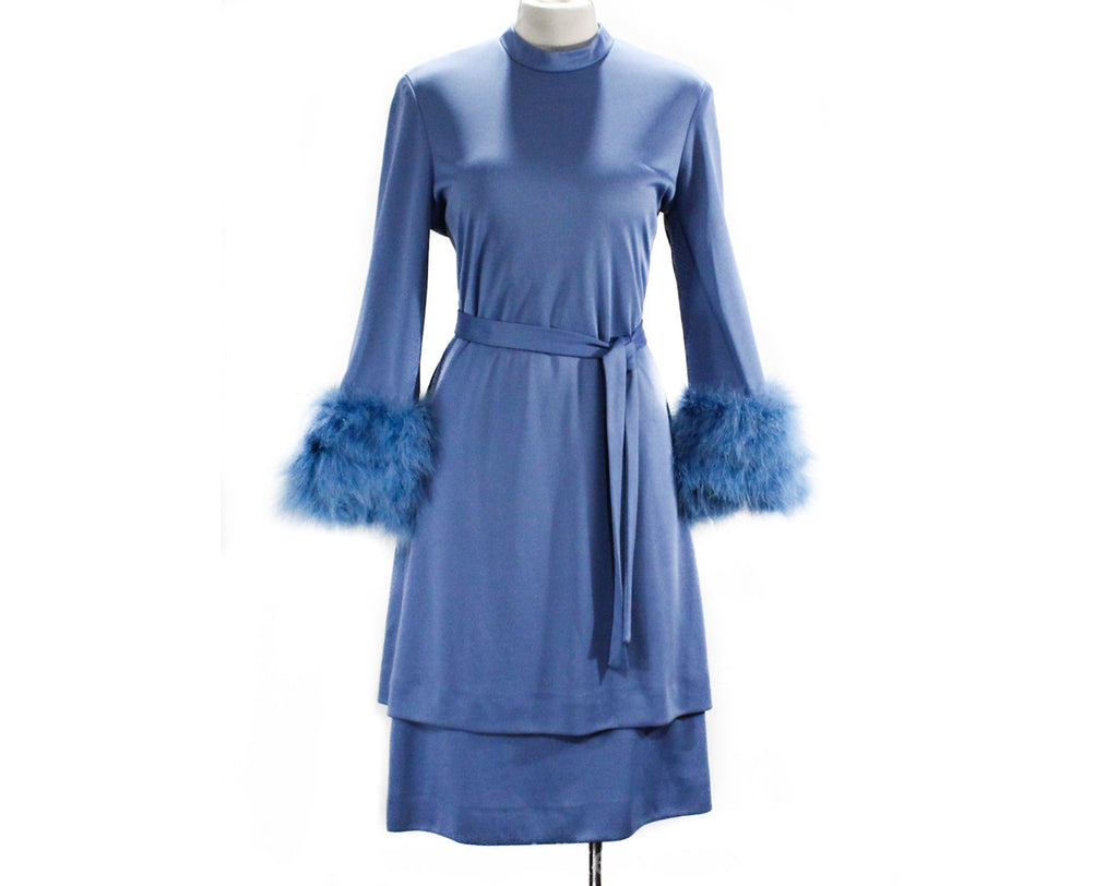 Size 10 1970s Dress by Lilli Diamond - Long Sleeved 70s Glamour Cocktail - Marabou Feather Cuffs - Periwinkle Blue Knit - Zsa Zsa - Bust 38