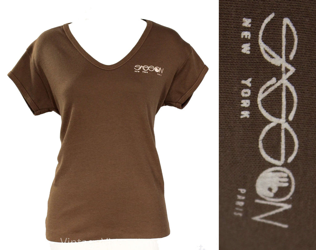 Large Sasson T Shirt - Vintage 1980s Tee - Cocoa Brown Cotton Knit - Size 12 Short Sleeve Jersey Knit T-Shirt - New York Paris - Bust 40