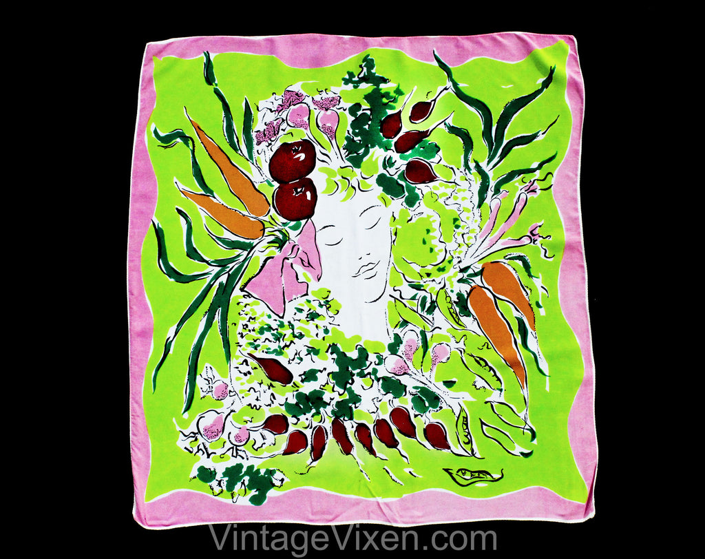 1940s Vegetable Patch Rayon Scarf by Marcel Vertes for Wesley Simpson - 40s Surreal Spring Novelty Print - Chartreuse Green Pink Orange Face