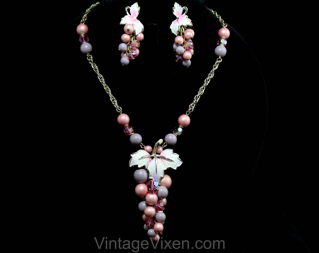 1950s Grapes Necklace & Earrings - Pink and Purple Bauble Clusters by Park Lane - Two Tone 50s Demi Parure - Pastel Spring Chic - 50578