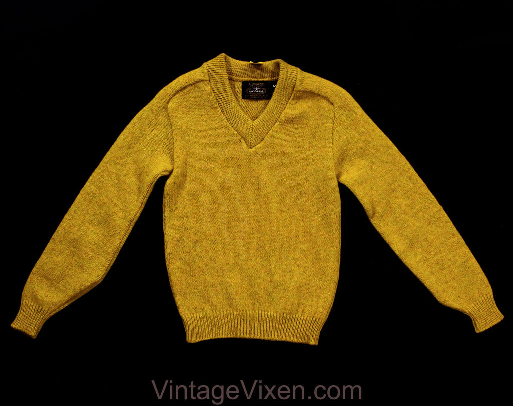 1960s Boy's Sweater - Child Size 10 Mustard Yellow Wool Mohair Pullover - Classic Retro Long Sleeve Knit Top - NWT Deadstock - Chest 29