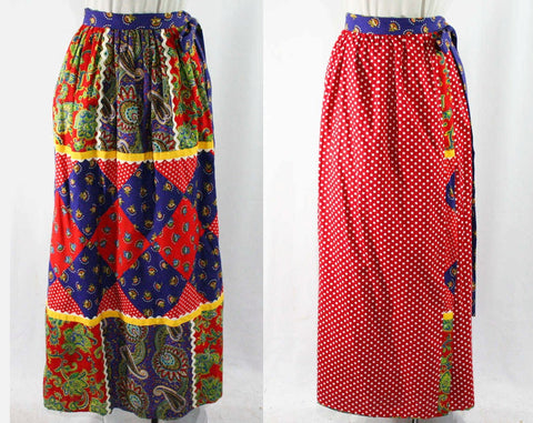 Size Medium 1970s Patchwork Skirt - Hippie Maxi Length - Wrap Style - Paisley - Polka Dot - Daisies - Red & Blue - Waist to 29 - 44101