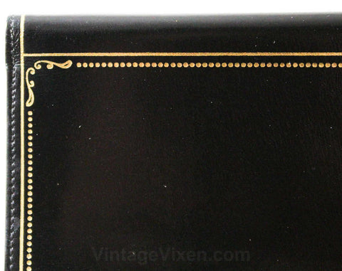 1940s Fine Black Wallet - Exquisite Italian Leather with Gold Flourish Border - Made in Italy - 40s 50s Deadstock - Beautiful Gift Idea
