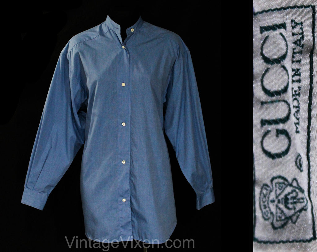 Large 1990s Gucci Blouse - Classic Blue Cotton Ladies' Dress Shirt with Henley Collar - Cuffed Long Sleeves - Minimalist Modern - Bust 41