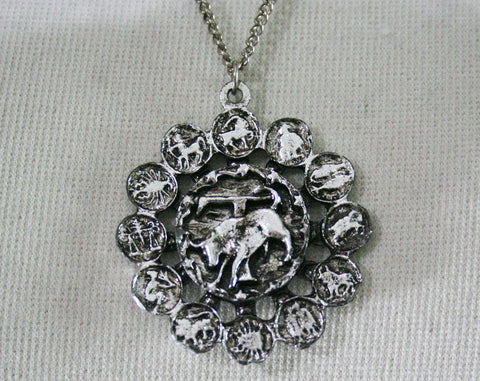 Vintage 1970s Zodiac Necklace - Taurus - April 20 to May 20 - Necklace - Spring - Silvertone Metal - 1970s - Birthday - Giftable - 44435