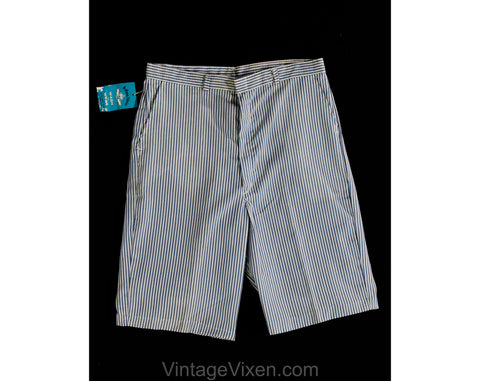 Teen Boy's 1960s Shorts - Size 16 18 Blue Chambray Seersucker Bermuda Style Shorts - 60s Summer Preppy Classic Deadstock - NWT - Waist 28