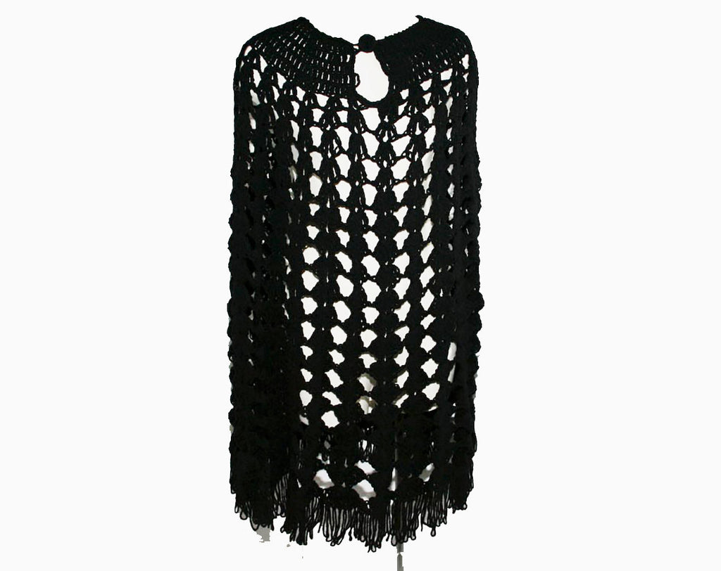 Bewitching Black Crochet Cape with Fringe - Any Size Small - Medium - Large - See Through - Hippie - Boho - 60s - Fall - Casual - 31199-1