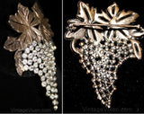 Excellent 1930s Rhinestone Grapes Pin - Silvertone Metal Hollywood Regency 30s 40s Brooch - Exquisite Design - Nice Quality - 32082-1