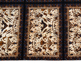 1960s Batik Cotton Print Fabric - Brown Black & White India Textile Panel - Rectangle Wall Hanging Border Print Cutter - Rorschach Ink Blot