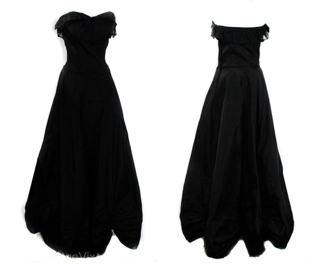 Size 2 1940s Evening Dress - XS Black Taffeta Authentic 30s 40s Formal Gown - Strapless or Straps - Lace Bust & Flounced Hem with Cinch Bows