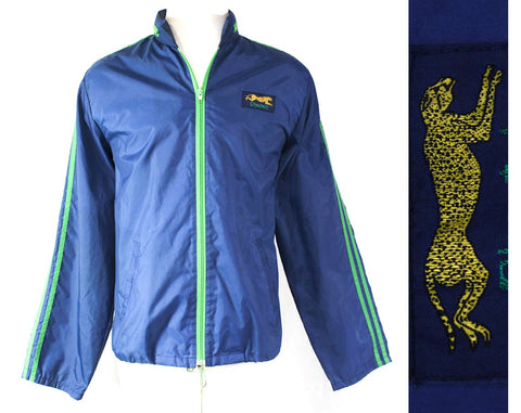 Men's Large Cheetah Windbreaker - Lightweight Blue Track Jacket with Hood - Late 70s 80s Athletic Ripstop Nylon Kelly Green Trim - Chest 44