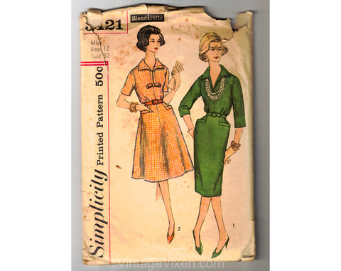 50s 60s Sewing Pattern - Tailored Sleeved Dress in Fitted & A Line Skirts - Complete Bust 32 Simplicity 3121 1950s 1960s Classic Dressmaker