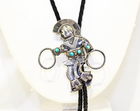 Turquoise & Sterling Silver Bolo Tie with Native American Hoop Dancer - Men's 1940s Western Jewelry - Southwestern Ritual Ceremony Dance