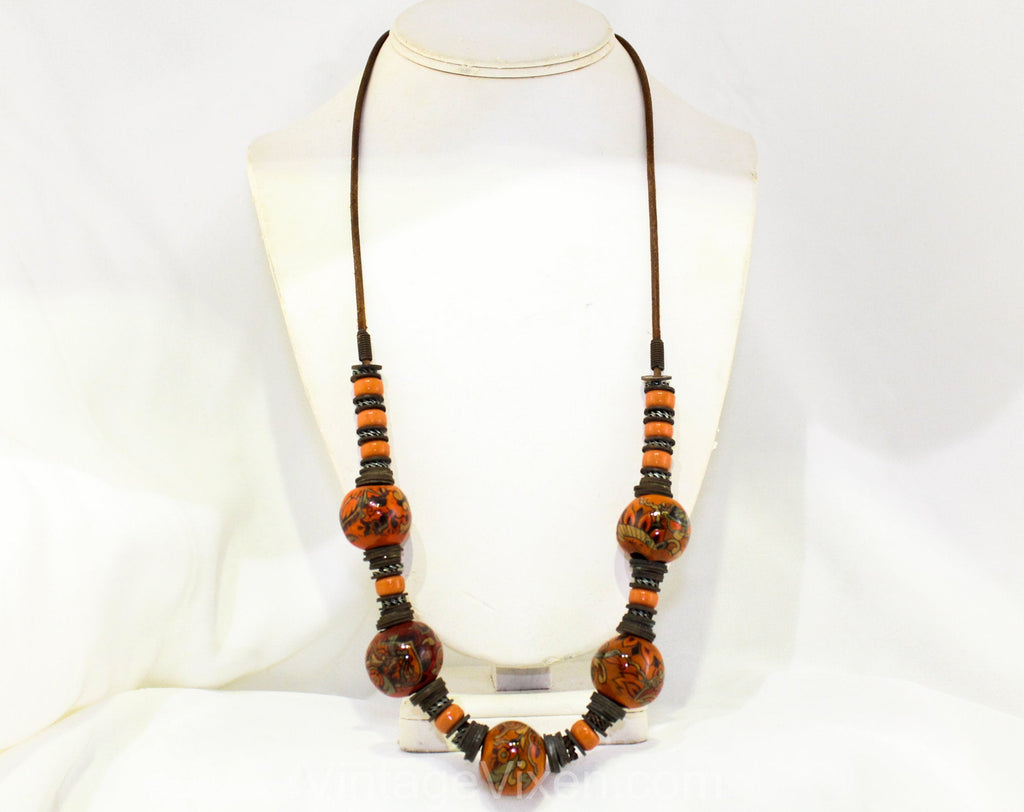 1970s Burnt Orange Necklace - Hippie 70s Art Glass Beads & Metal - Bohemian Fired Glazed Clay on Leather Cord - Artisan Made Boho Chic