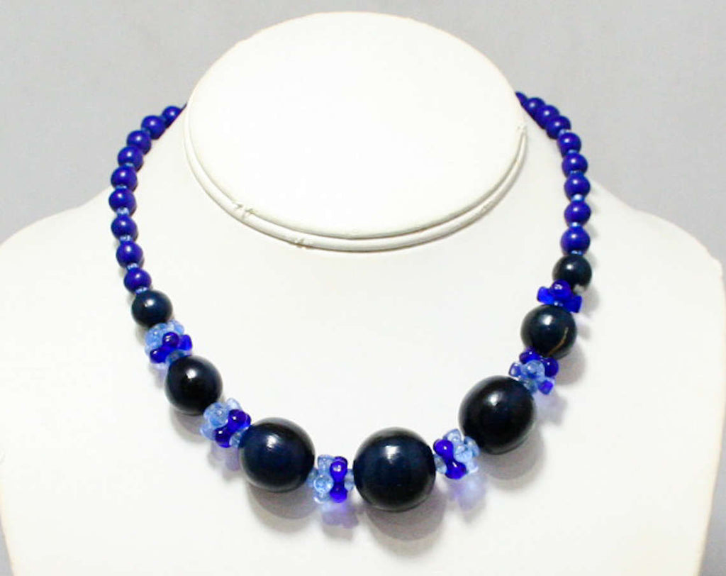 Blue Beaded Necklace - Cobalt Glass - Painted Wood - Graduated Beads - Arts & Crafts Style - Dark Navy Blue Beaded Jewelry