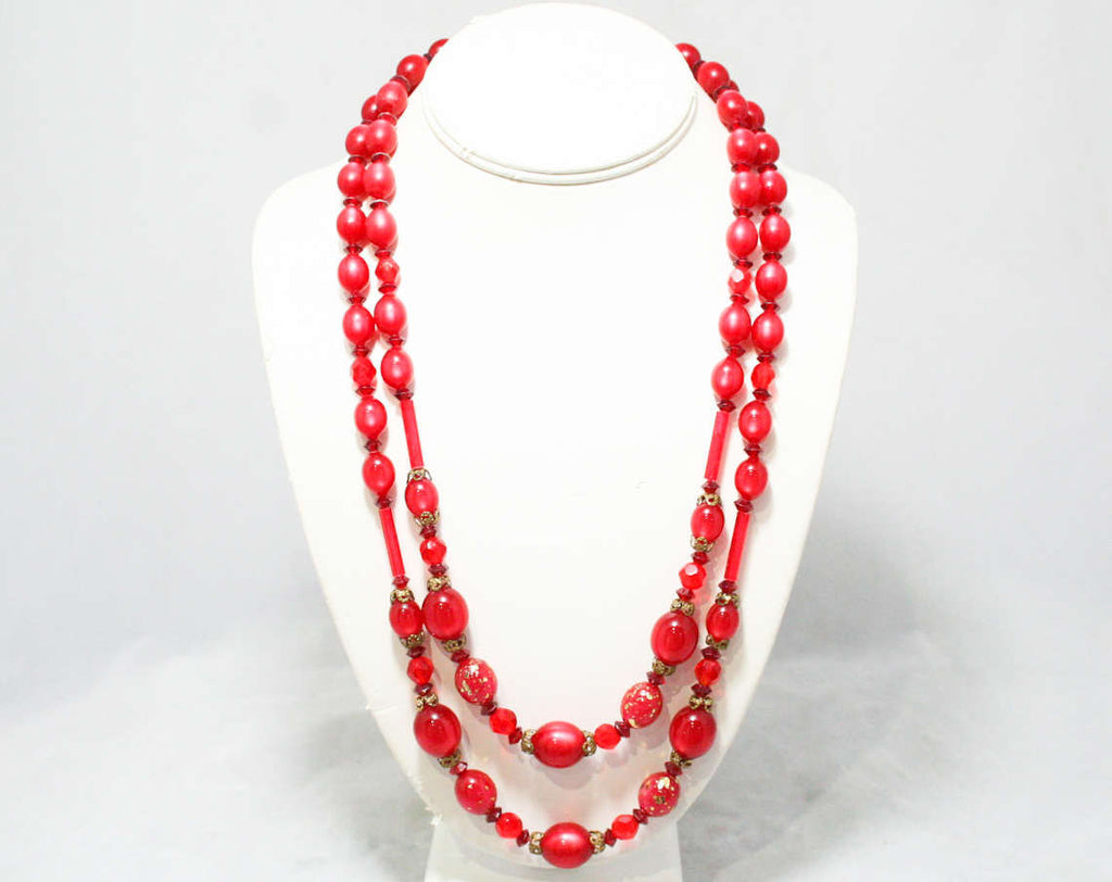 Cranberry Red 1950s Double Strand Necklace - 50s 60s - Freckled Goldtone Details - Filigree Caps - Office Jewelry - Secretary Style